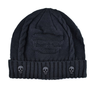 Super Cool Skull Knitted Wool + Velvet Hat