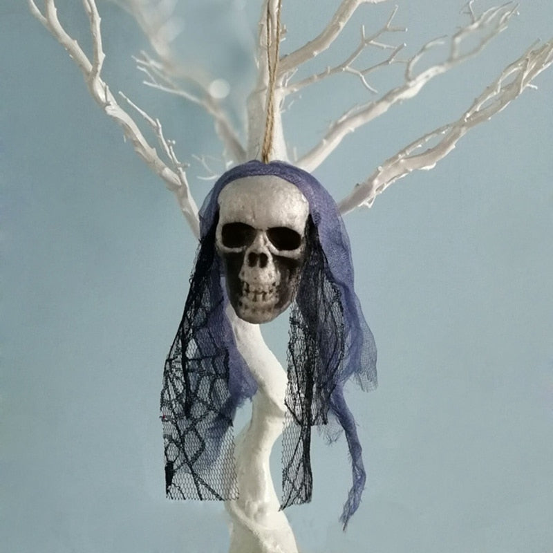 Artificial Foam Skull Hanging With Bride Clothes