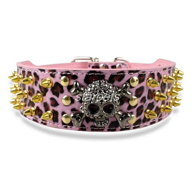 "Studded Skull Leather Dog Collar 2"" Wide Spiked"