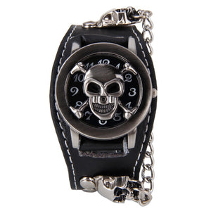 Skull Leather Sports Quartz Watch