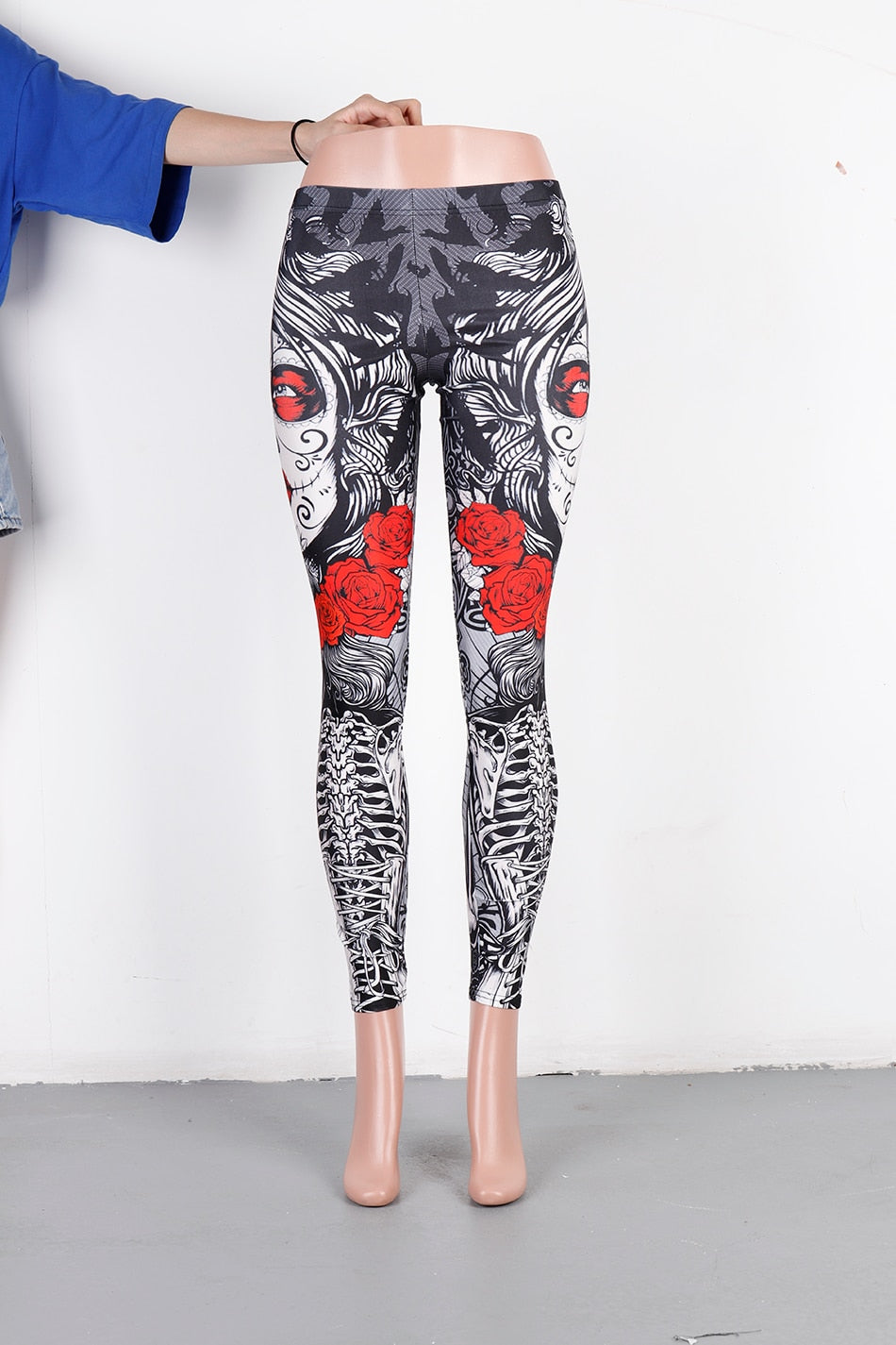 Rose Print Halloween Sugar Skull Leggings