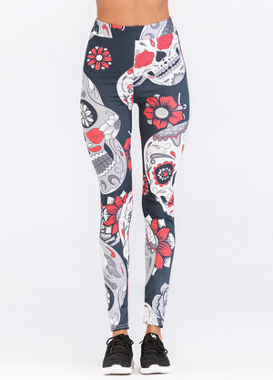 Yoga Sports Floral Skull Head High Waist Leggings