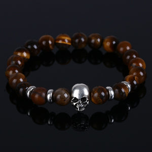 Natural Lava Stones Tiger Eye Skull Bracelet