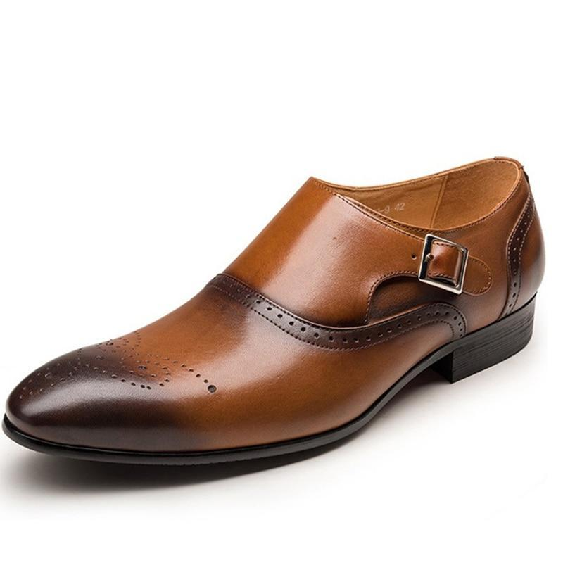 Classic Wingtip Carved Italian Formal Leather Dress Shoes