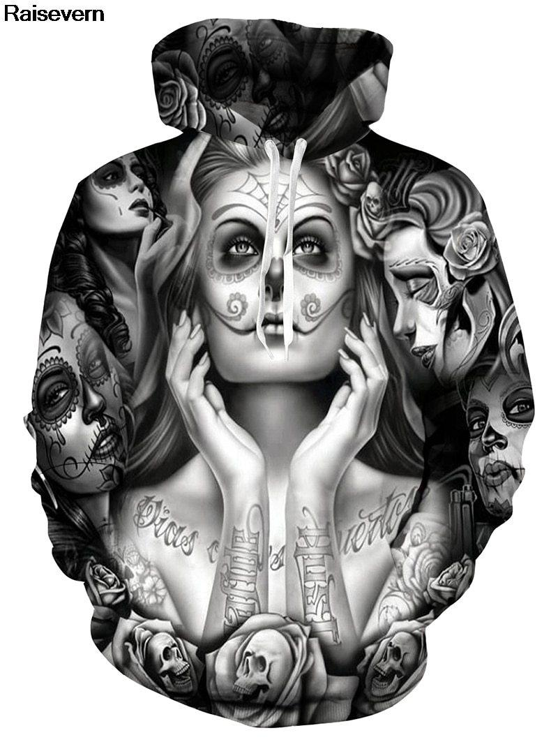 Girl Tattoo Skull Hoodies Sweatshirts For Men & Women