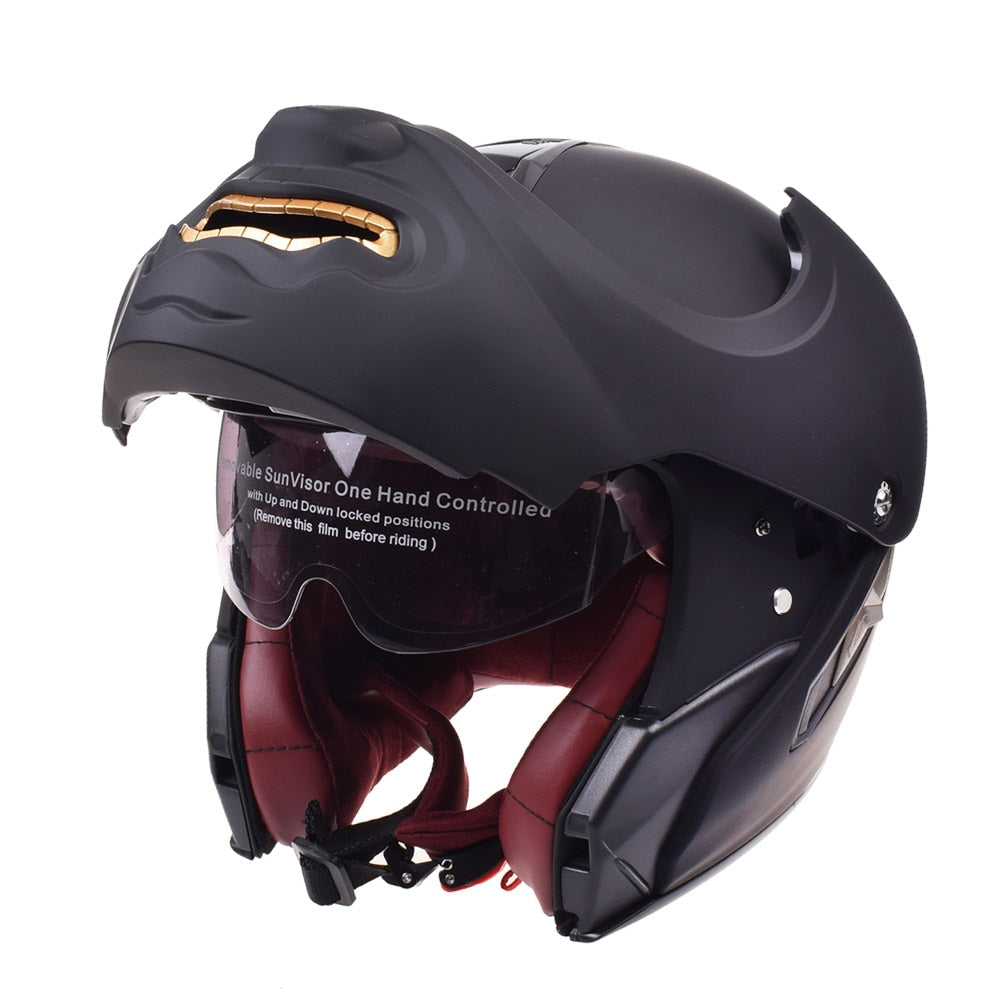 Skull Face Touring Modular Flip Up Motorcycle Helmet
