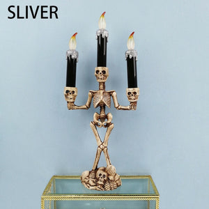 LED Candle Holder 3-arms Skull Skeleton Candle Stand