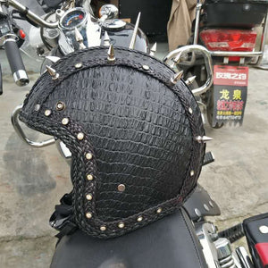 Retro Vintage Synthetic Leather Motorcycle Helmet
