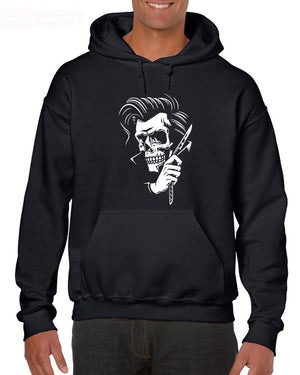 Rockabilly Tattoo Hipster Barber Style Skull Mens Sweatshirt