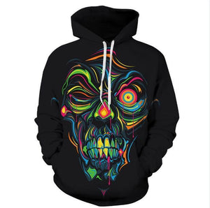 Black Tattoo 3D Skull Hoodies Full Sleeve