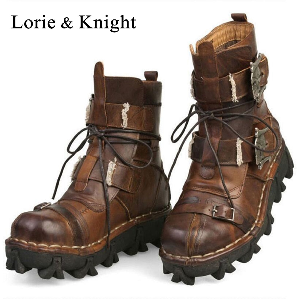 Cowhide Genuine Leather Military Work Boots