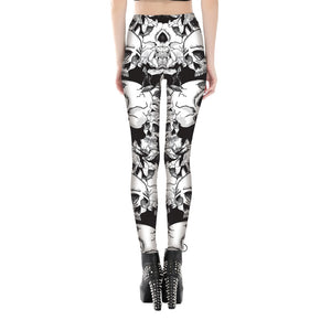 High Waist 3D Print Black White Rose Skull Leggings