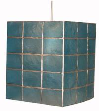Suspension Kupang en métal coloris bleu aspect carrelé - Lampe Deco