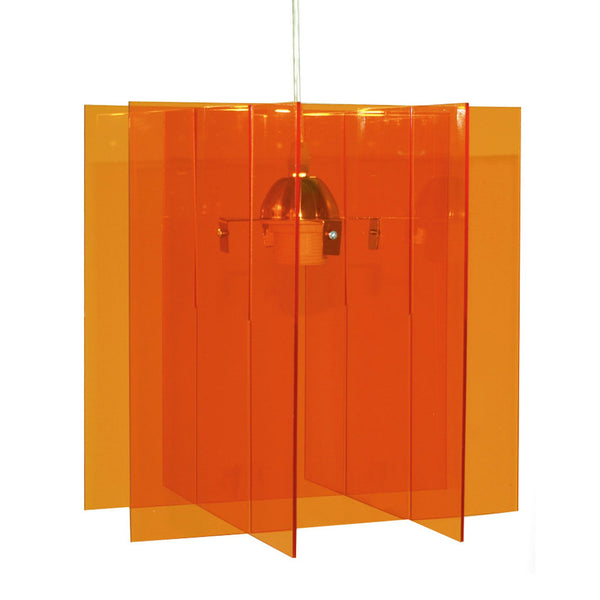 Suspension Carline en plexiglass coloris rouge, orange ou transparent style pop - Lampe Deco