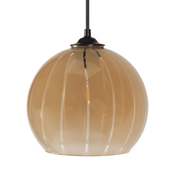 Suspension Boule en verre coloris gris ou taupe - Lampe Deco
