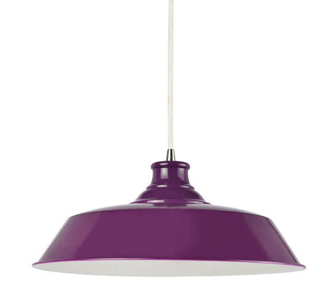 Suspension Darcone en métal coloris violet style industriel - Lampe Deco