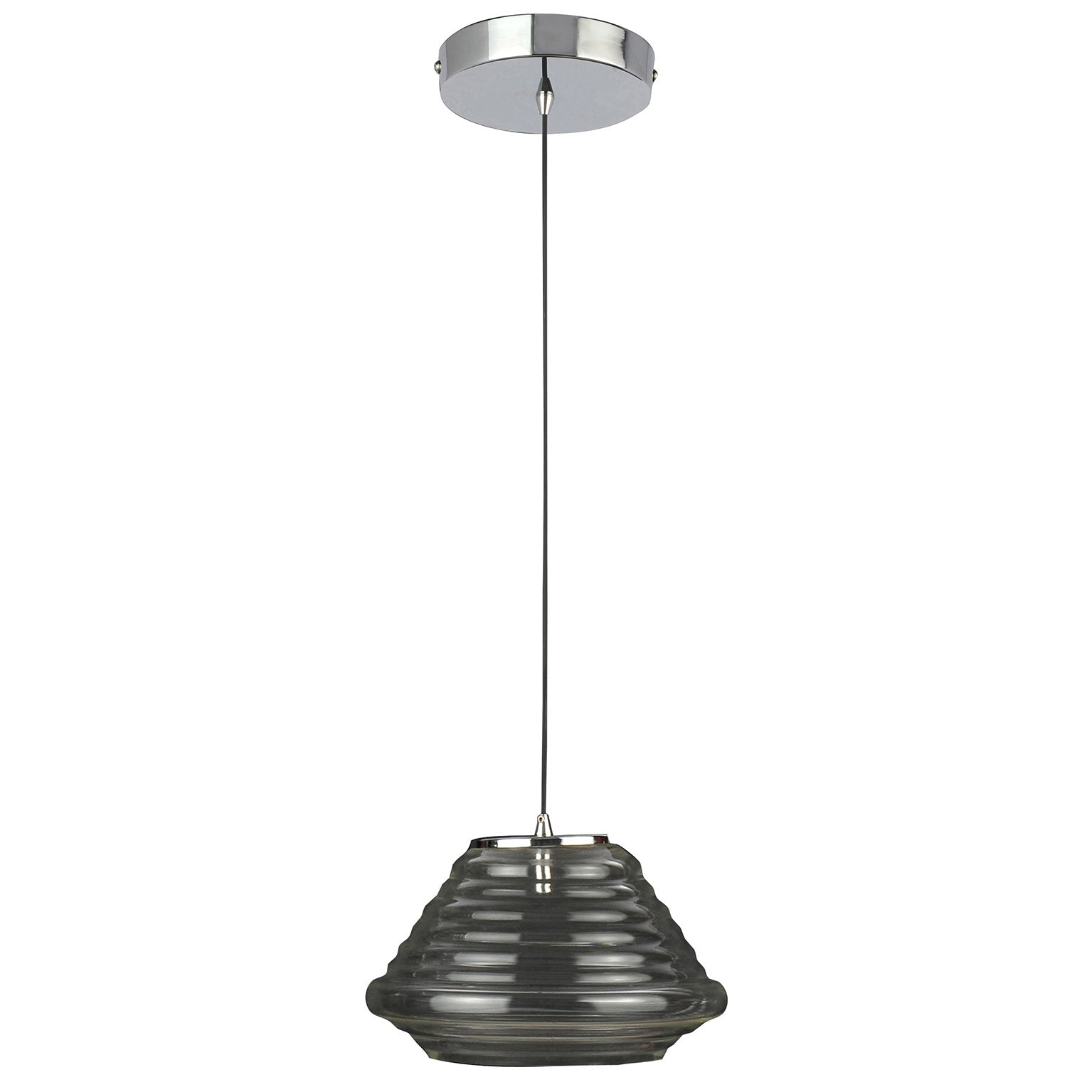 Suspension Flood en métal coloris chromé ondulé une ampoule - Lampe Deco
