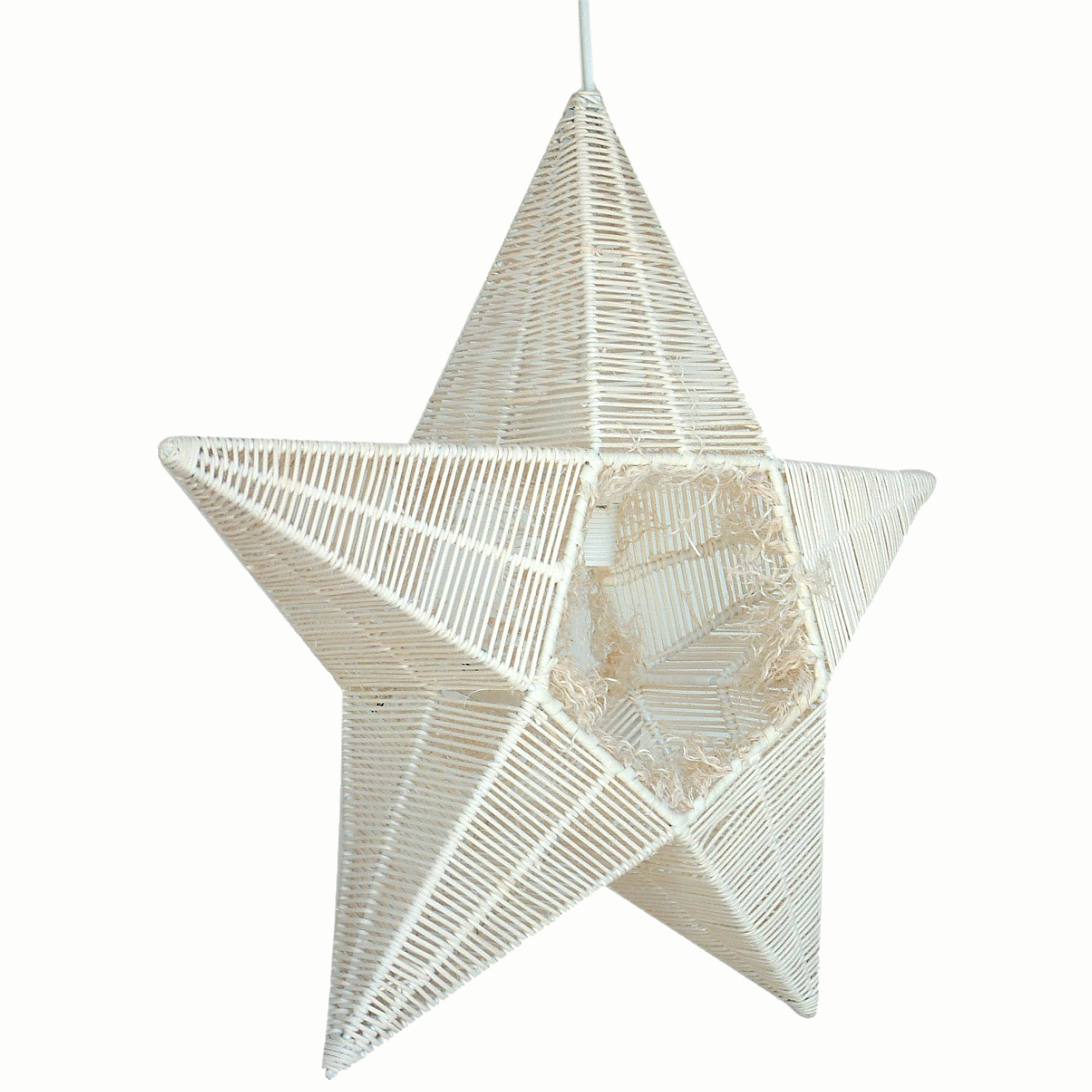 Suspension Stara en forme d'étoile en rotin coloris naturel - Lampe Deco