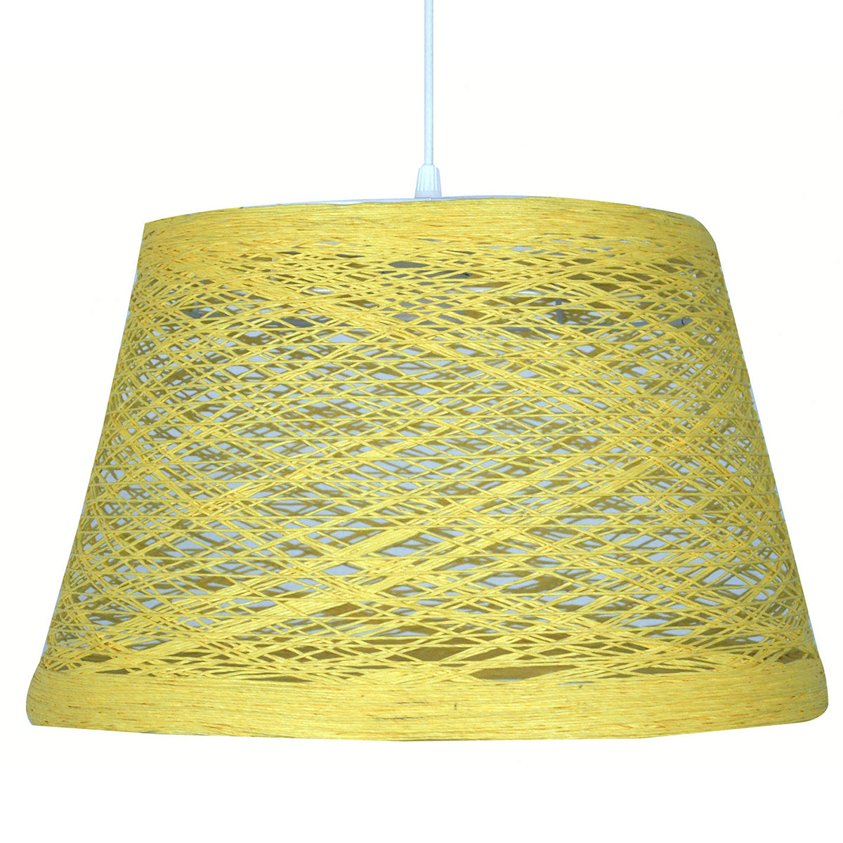 suspension abat-jour en sisal jaune