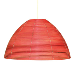 Suspension Foline en rotin coloris rouge - Lampe Deco
