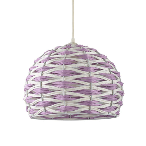Suspension Bitop en fibre naturelle coloris violet et blanc - Lampe Deco