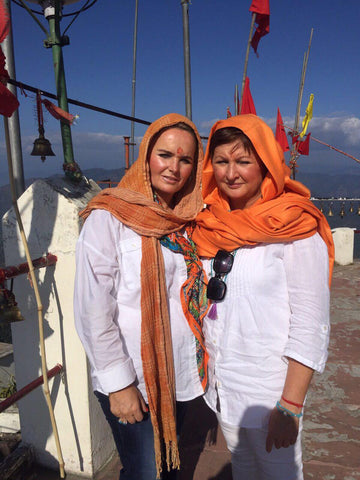 Tahnee and her twin sister, Lisa visiting a holy temple in India