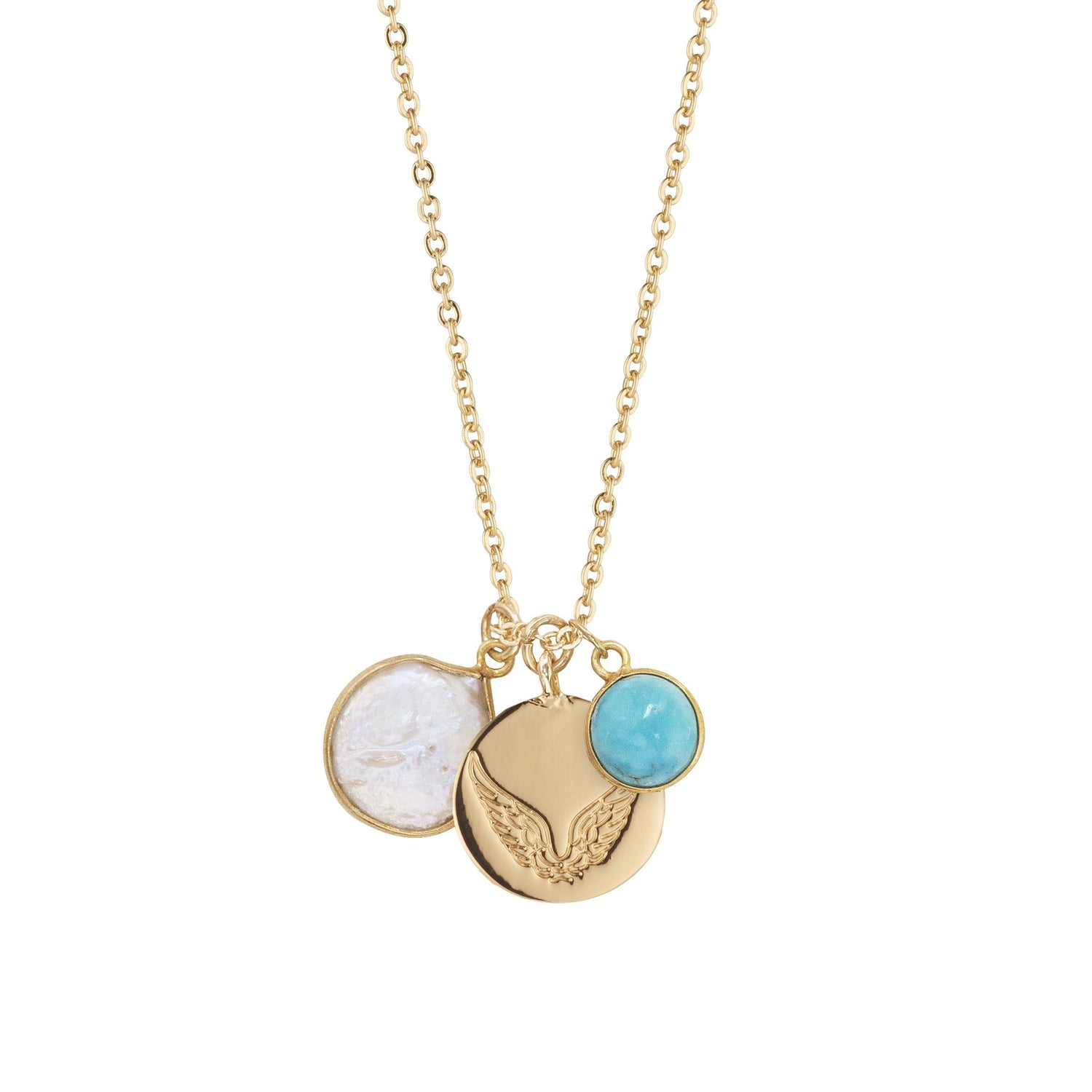 Pearl & Turquoise Necklace With Disc Charm for Peacefulness