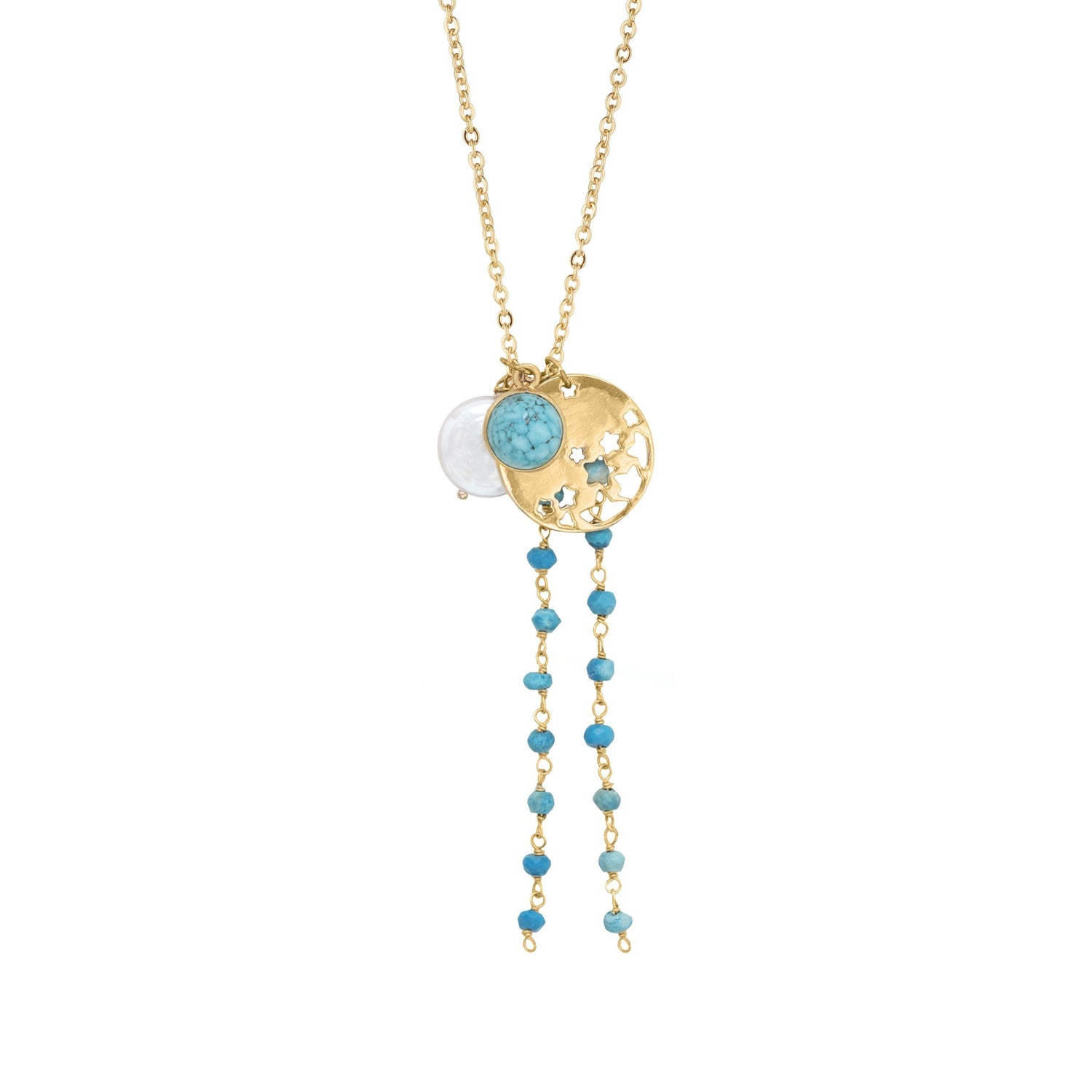 Turquoise & Pearl Necklace With Constellation Charm For Your Past, Present & Future