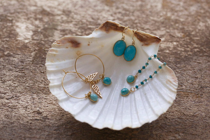 Handmade Turquoise Wing Charm Hoop Earrings