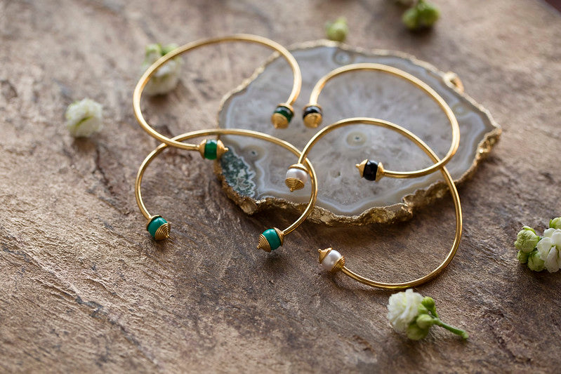 925 Silver Turquoise & Gold Bangle For Luck, Protection & Health