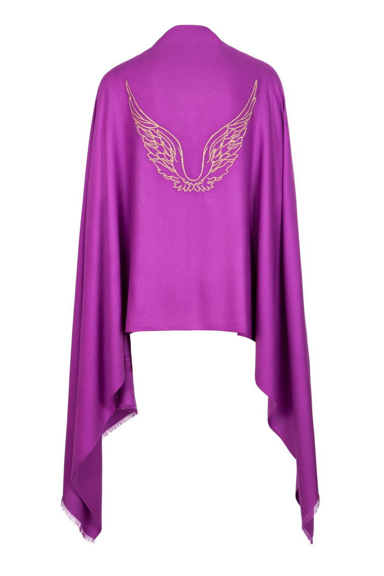 Angel Chameul Pink Embroidered Wings Wrap Scarf for Love, Passion & Relationships