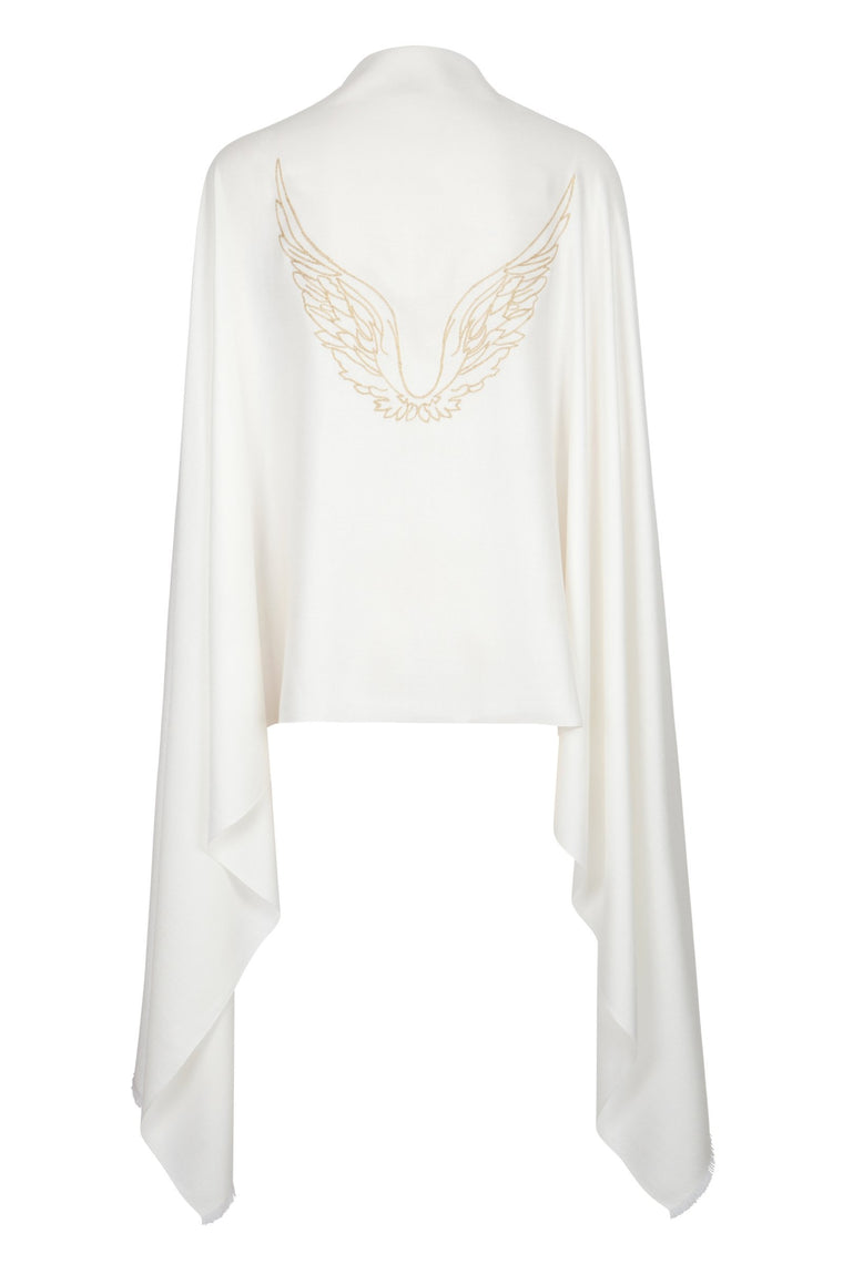 Angel Gabriel Ivory Embroidered Wings Wrap Scarf for Communication, Family & Creativity