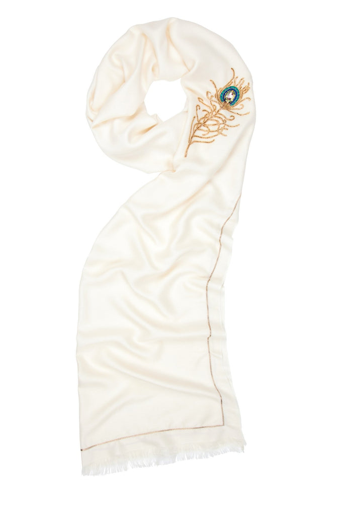 Angel Gabriel Ivory Wrap Scarf for Communication, Family & Creativity