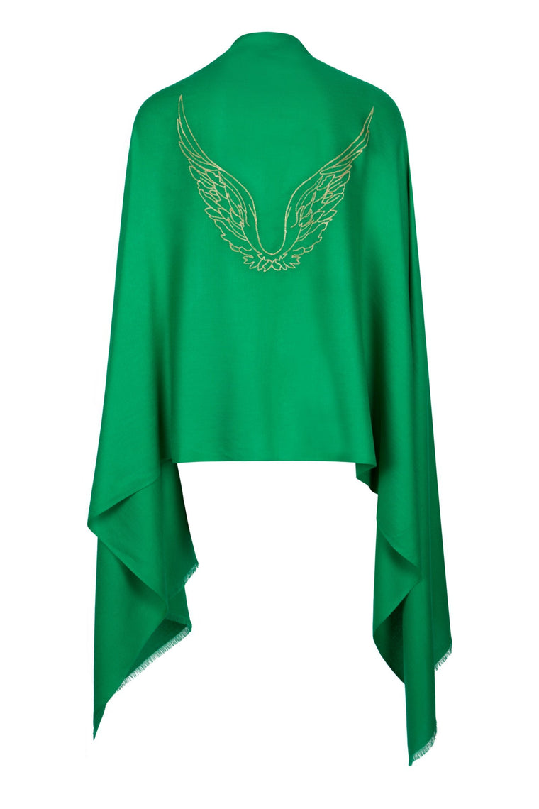 Angel Raphael Green Embroidered Wings Wrap Scarf for Healing, Travel & Guidance