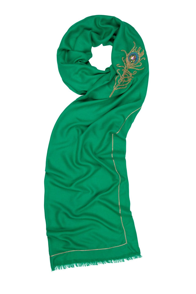 7th Heaven Green Angel Raphael Peacock Scarf for Healing, Travel & Guidance