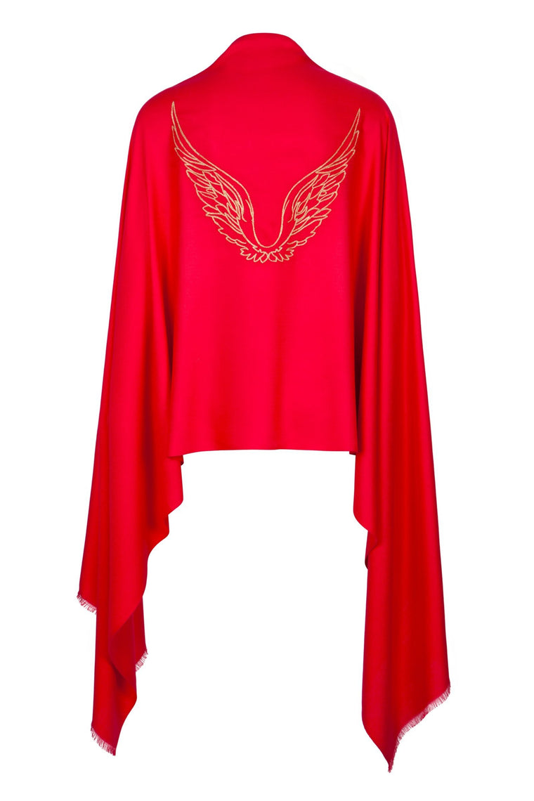 Angel Uriel Red Wrap Embroidered Wings Wrap Scarf for Inspiration, Study & Success