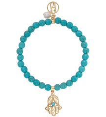 Beaded Turquoise Bracelet For Luck, Protection & Health With Gold Hamsa Fatima Hand