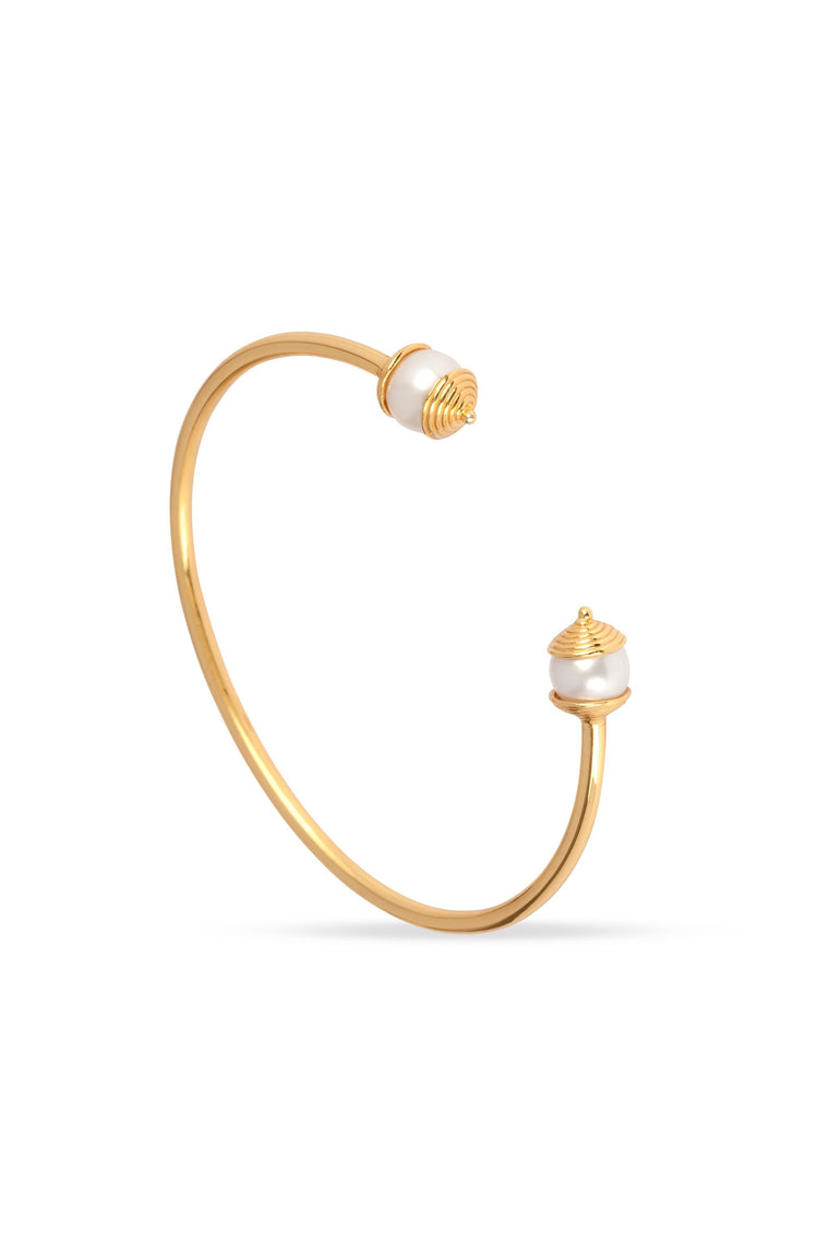 Freshwater Pearl and Gold Bangle for Purity, Harmony & Humility