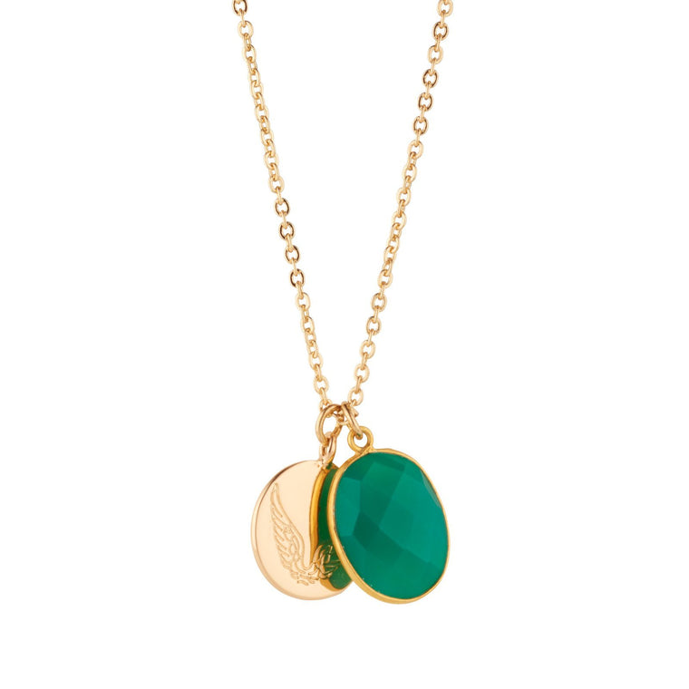 Green Onyx Necklace With Disc Charm for Abundance