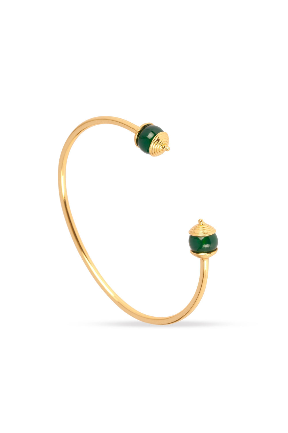 Green Onyx and Gold Bangle for Luck, Protection & Health