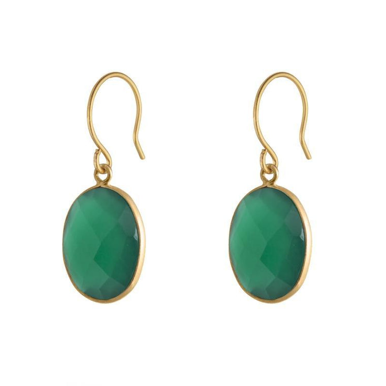 Handmade Green Onyx Stone Abundance Earrings