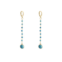 Handmade turquoise chain drop stone earrings set in vermeil with turquoise beads.   Highly polished tarnish resistant 16k gold plated brass.  Turquoise symbolises luck, protection and health.