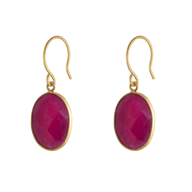 Handmade Ruby Stone Love Earrings