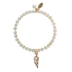 Little Heaven Children's Angel Gabriel Pearl And Angel Charm Bracelet