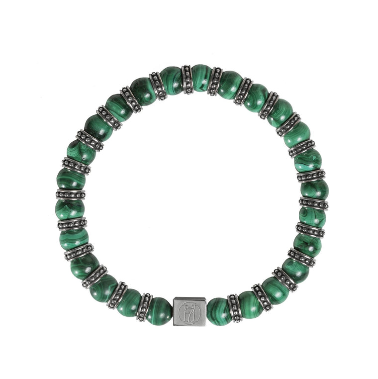 Men's Green Malachite Bracelet for Growth, Abundance & Healing