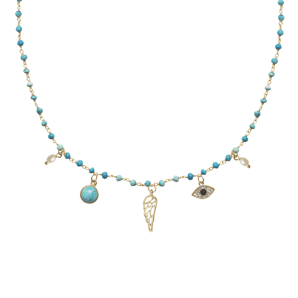 Natural Turquoise & Pearl Short Necklace with Wing & Third Eye Charms For Good Fortune