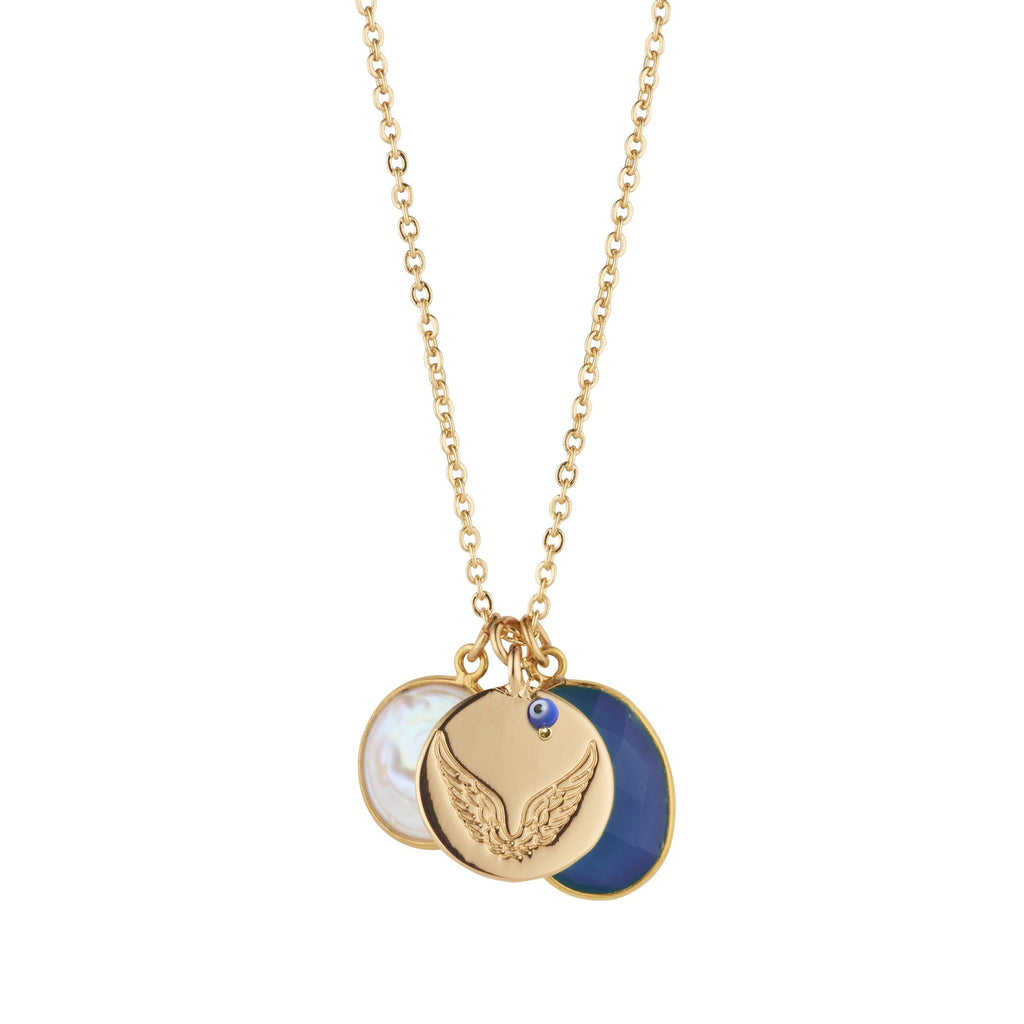 Pearl and Blue Sapphire Necklace With Disc & Third Eye Charm for Protection