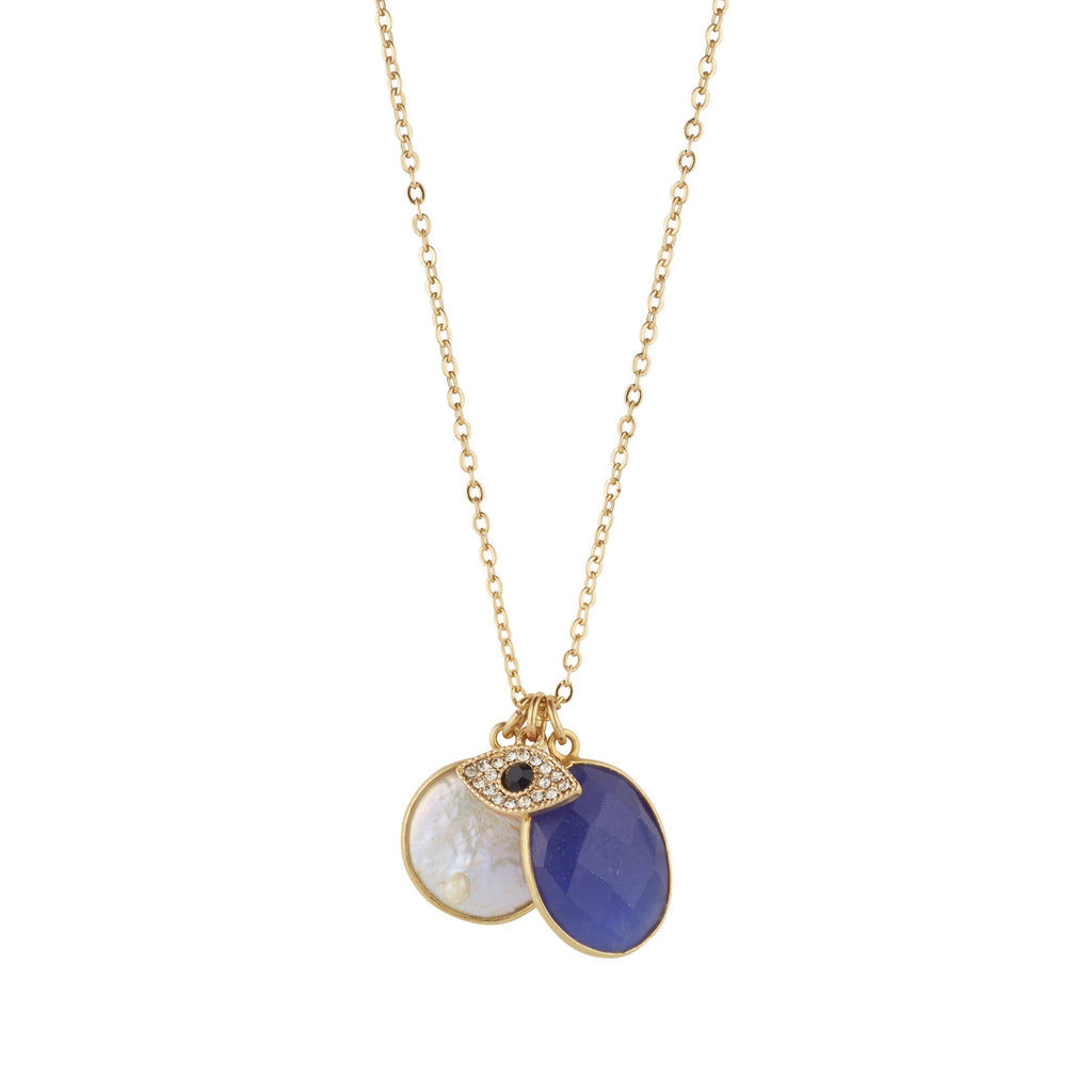 Pearl & Blue Sapphire Necklace With Third Eye Charm for Protection & Wisdom