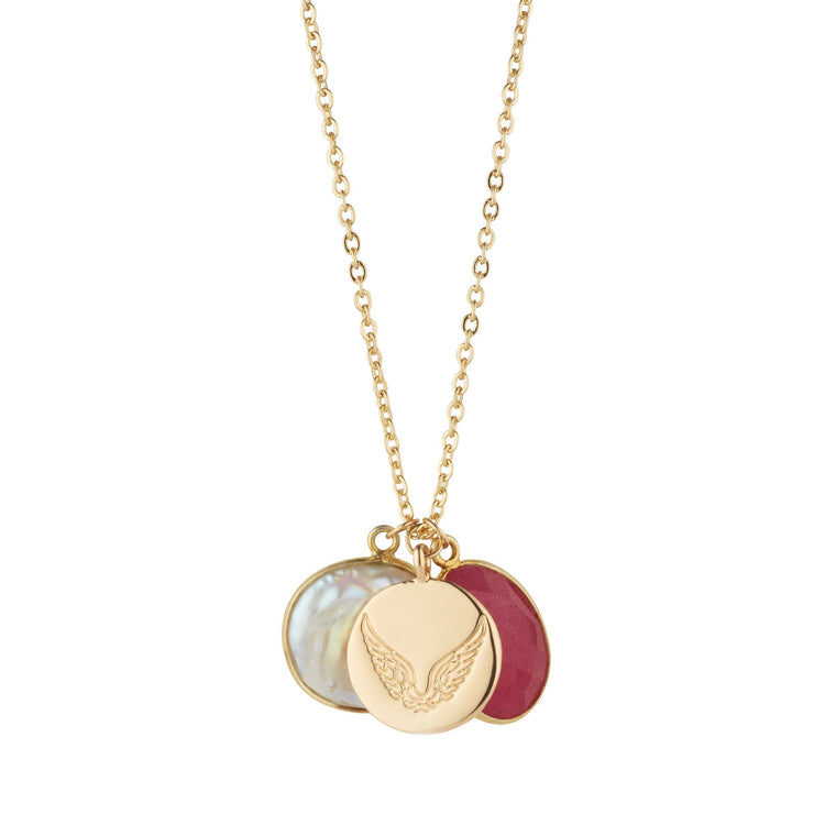 Pearl & Ruby Necklace With Disc Charm For Love & Loyalty