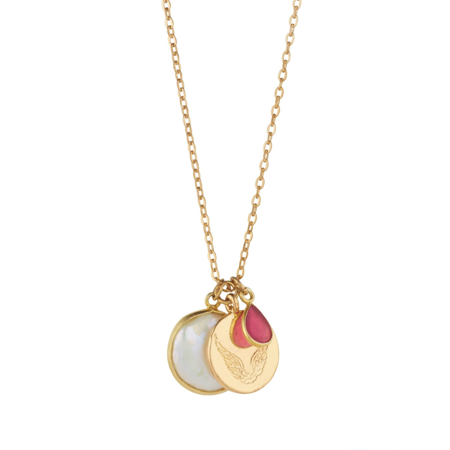 Pearl & Teardrop Ruby Necklace With Disc Charm For Love & Loyalty